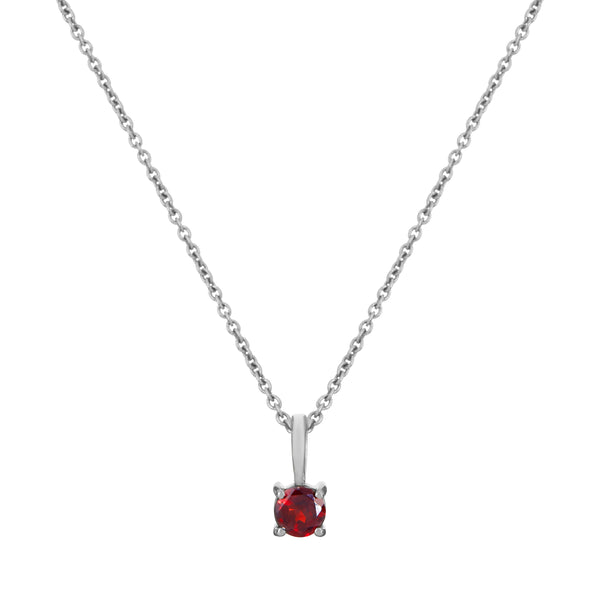 Mini Garnet Necklace Sterling Silver
