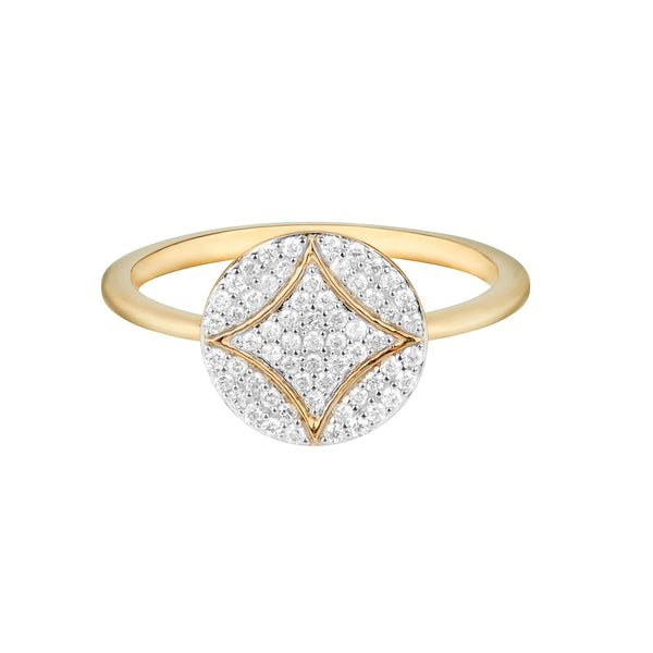 Diamond Pavé Disc Ring 9k Gold
