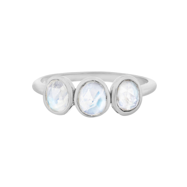 Moonstone Three Stone Ring Sterling Silver