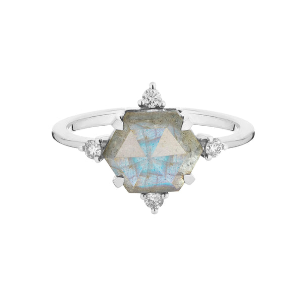 Labradorite & Diamond Hexagon Ring Sterling Silver