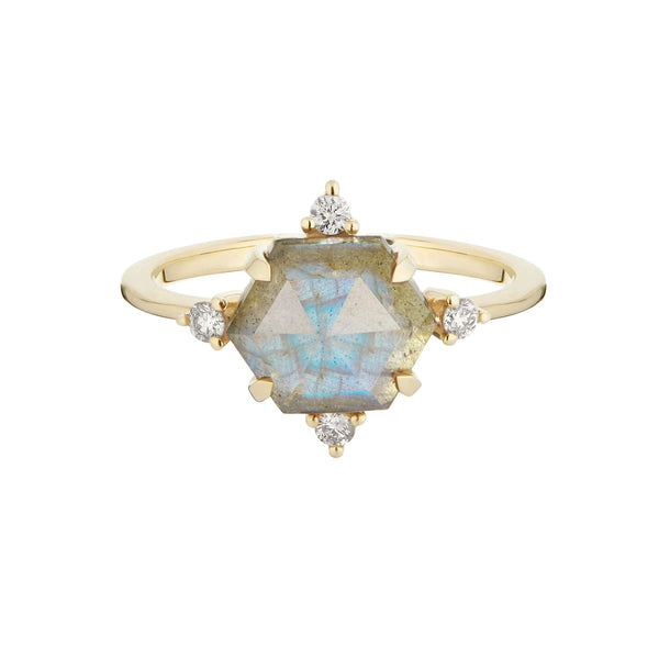 Labradorite & Diamond Hexagon Ring 9k Gold