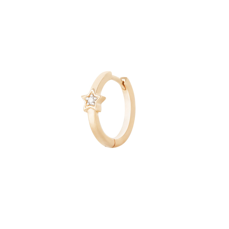 Diamond Star Huggie Hoop Earring 9k Gold