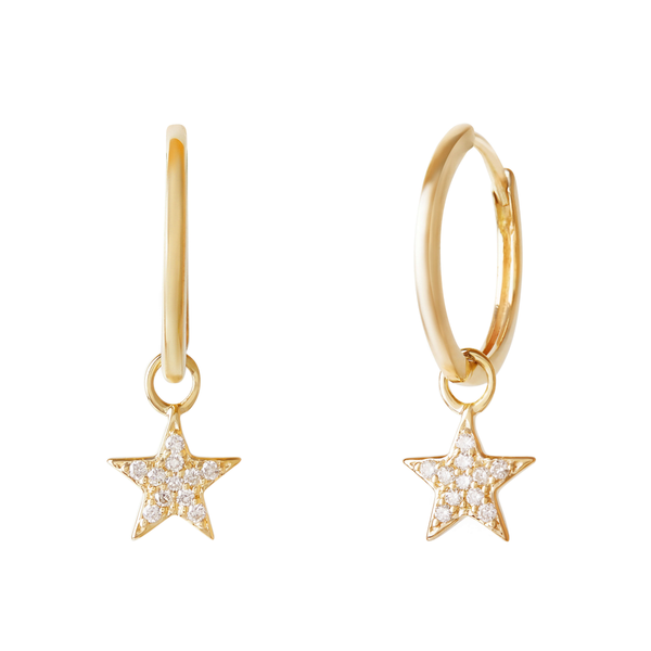 Celestial Diamond Star Hoops 9k Gold