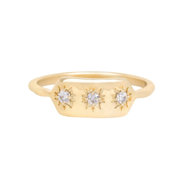 Diamond Starburst Ring 9k Gold