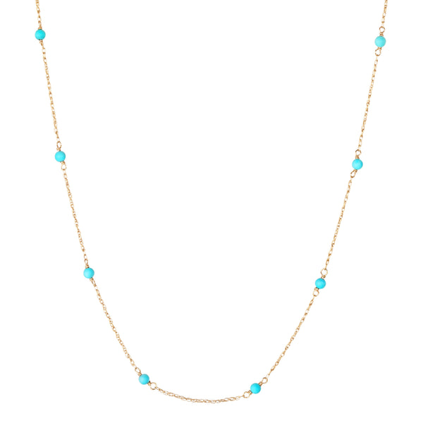 "16"" Turquoise Stationed Rope Chain 9k Gold"