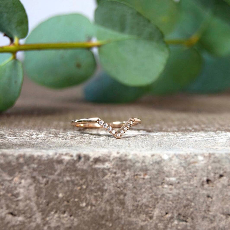 Diamond Wishbone Ring 9k Gold