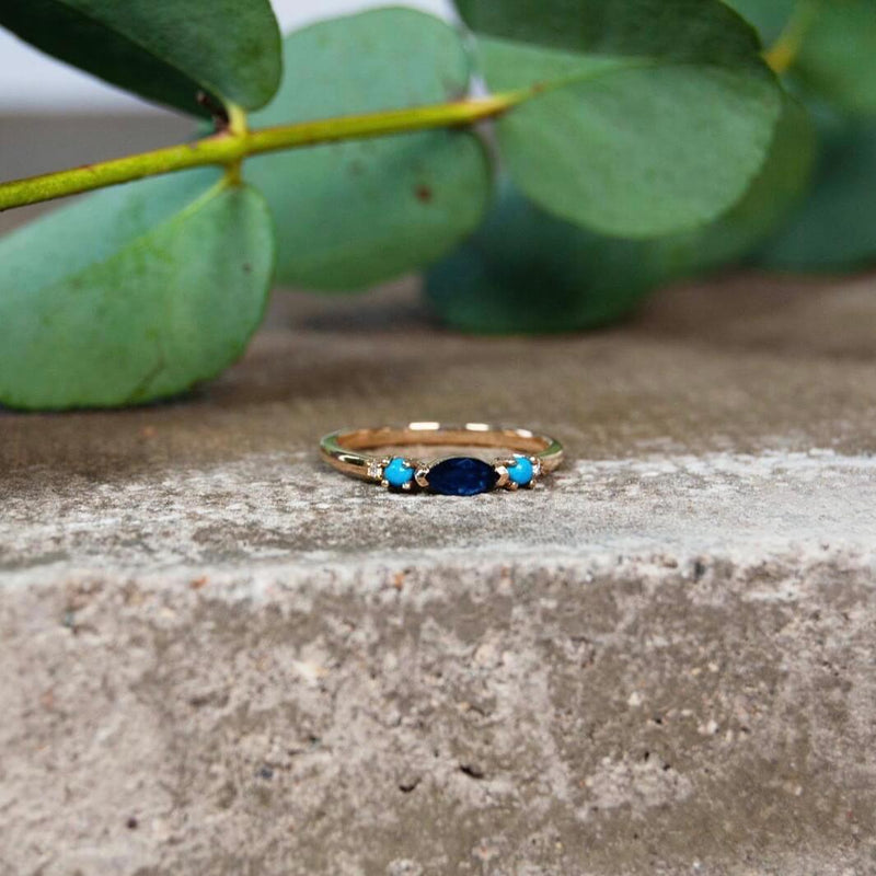 Sapphire, Turquoise & Diamond Ring 9k Gold