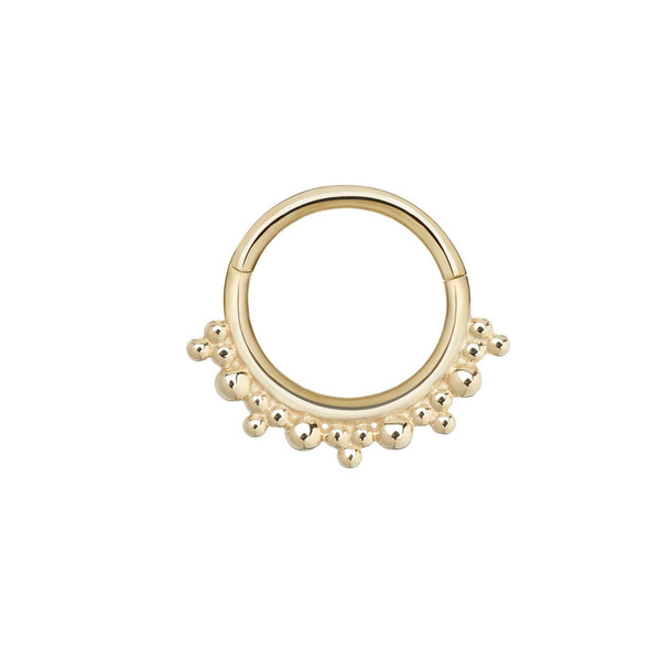 Beaded Hoop Earring 9k Gold