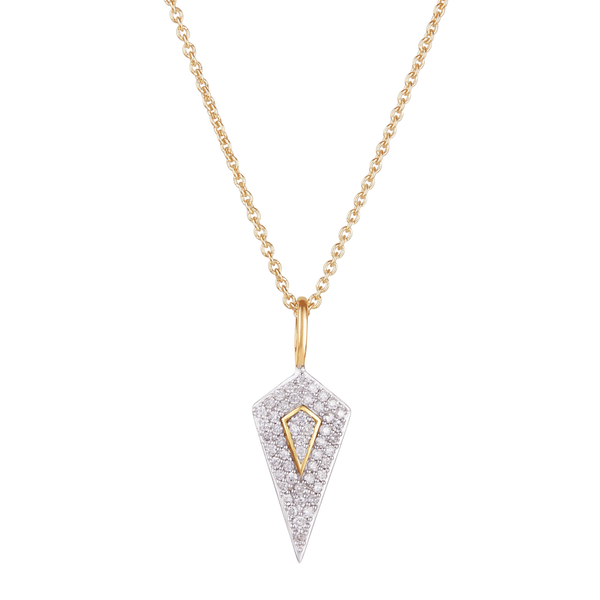 Diamond Rhombus Necklace 9k Gold