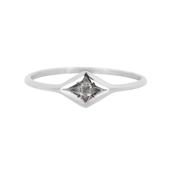 Diamond Star Ring Sterling Silver