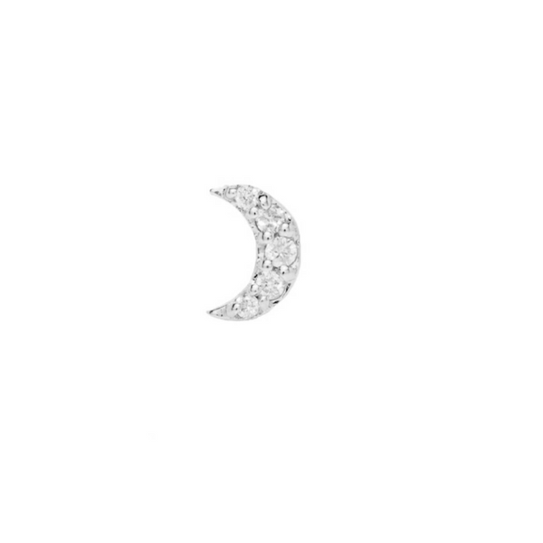 Diamond Moon Flat Back Earring Sterling Silver