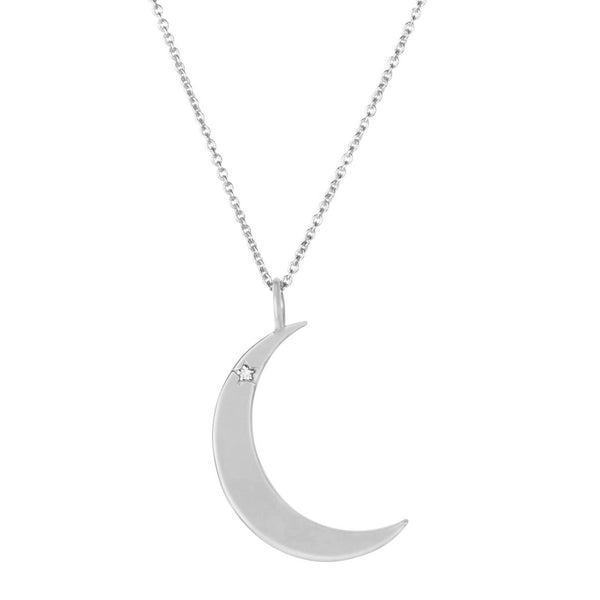 Diamond Star Moon Necklace Sterling Silver
