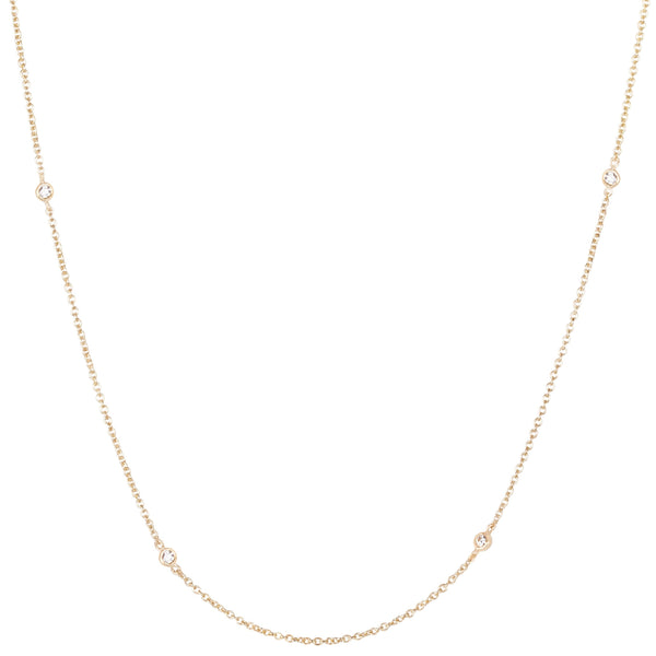 Diamond Station Necklace 9k Gold