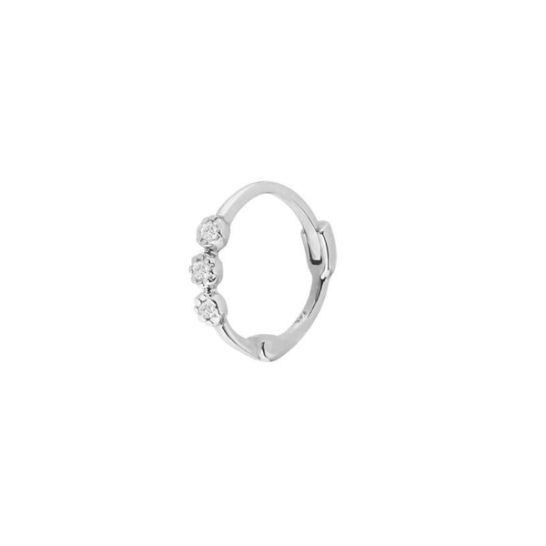 Diamond Trilogy Huggie Hoop Earring Sterling Silver