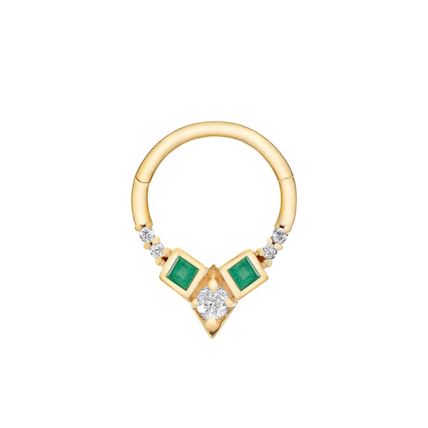 Emerald & Diamond Daith Hoop Earring 9k Gold