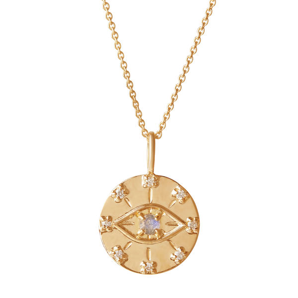Evil Eye Coin Pendant 9k Gold