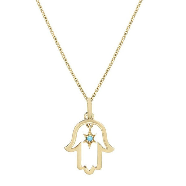 Hand of Fatima Necklace 9k Gold