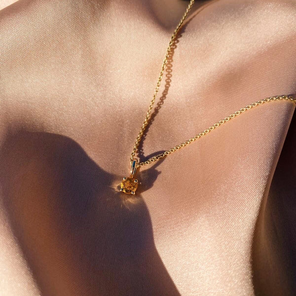 Mini Citrine Necklace 9k Gold