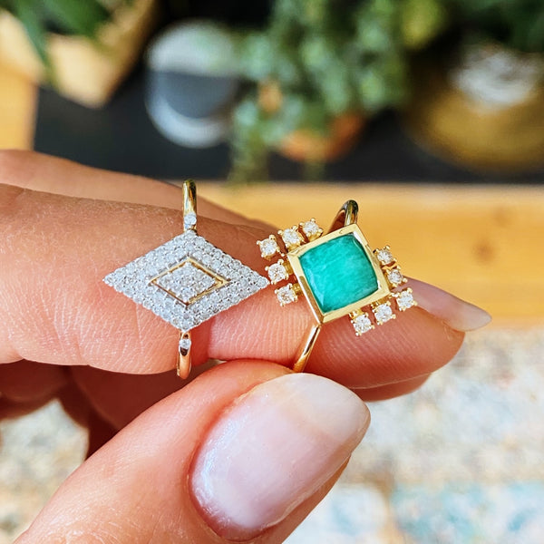 Amazonite & Diamond Peacock Ring 9k Gold