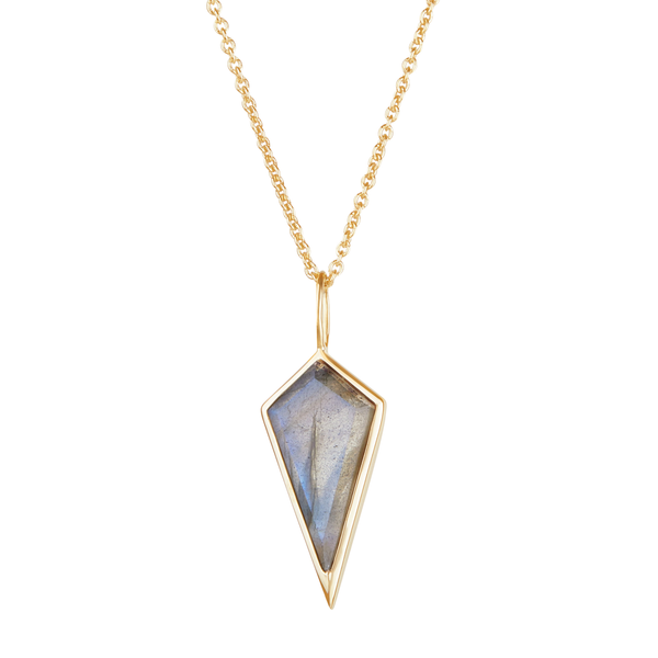 Labradorite Rhombus Necklace 9k Gold