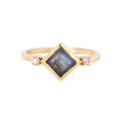 Labradorite Square & Diamond Ring 9k Gold