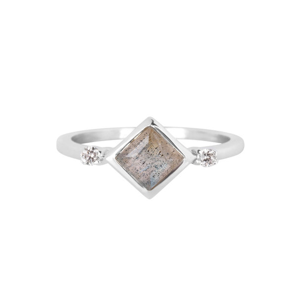 Labradorite Square & Diamond Ring Sterling Silver
