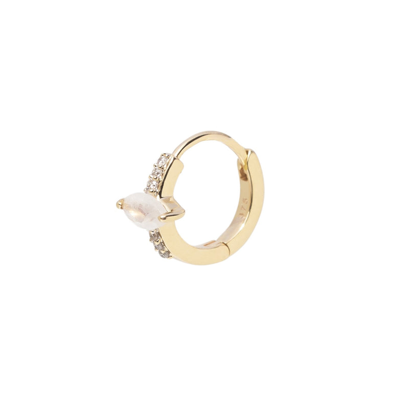 Marquise Moonstone & Diamond Huggie Hoop Earring 9K Gold