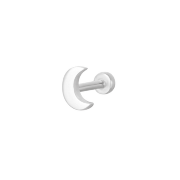 Moon Flat Back Earring Sterling Silver