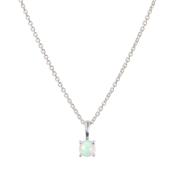 Mini Opal Necklace Sterling Silver