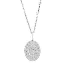 Celestial Diamond Coin Oval Necklace Sterling Silver