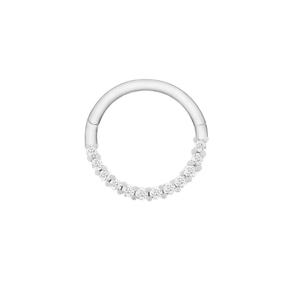Diamond Pavé Daith Hoop Sterling Silver