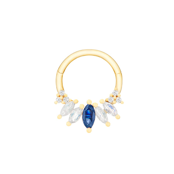 Sapphire, Moonstone & Diamond Daith Hoop Earring 9k Gold