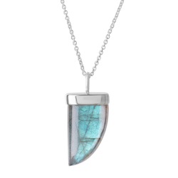 Labradorite Tusk Necklace Sterling Silver