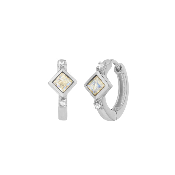 Labradorite Square & Diamond Hoops Sterling Silver