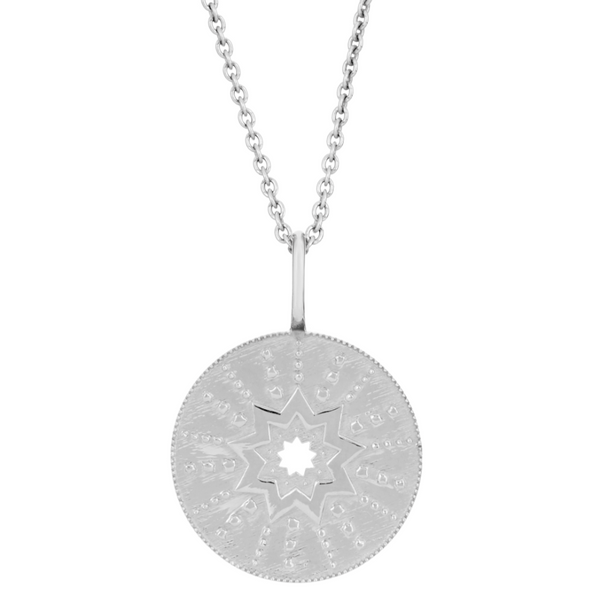 Large Starburst Coin Necklace Sterling Silver