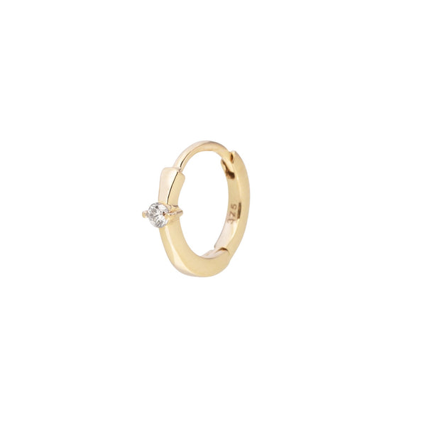 Mini Diamond Solitaire Huggie Hoop Earring 9K Gold