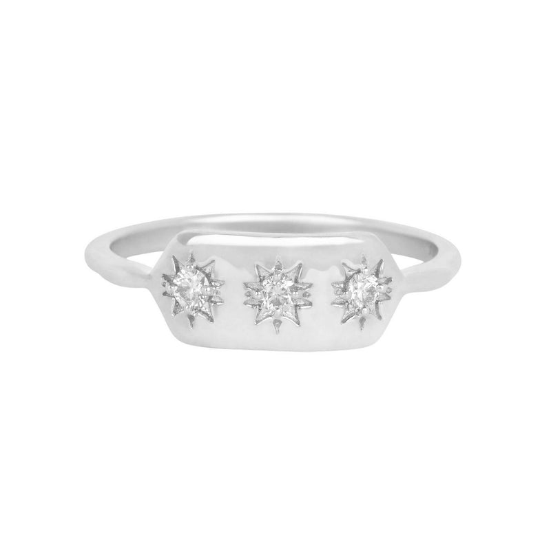 White Sapphire Starburst Ring Sterling Silver