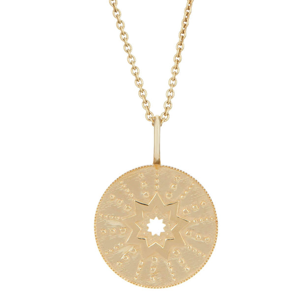 Large Starburst Coin Necklace 9k Gold