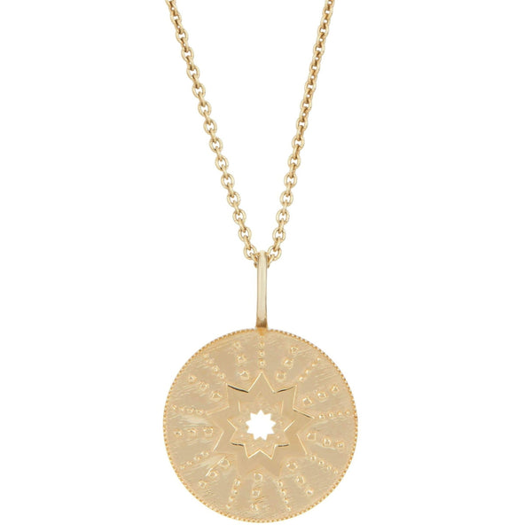 Starburst Coin Necklace 9k Gold