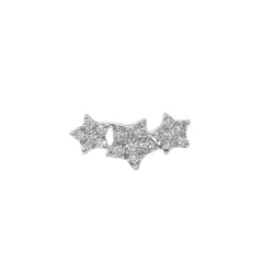 Diamond Star Cluster Flat Back Earring Sterling Silver