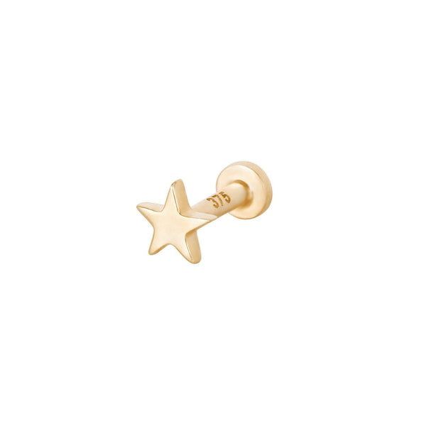 Star Flat Back Earring 9k Gold