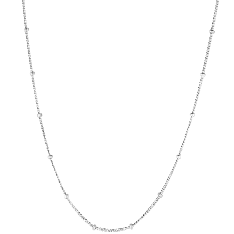 "16"" Stationed Bead Chain Sterling Silver"