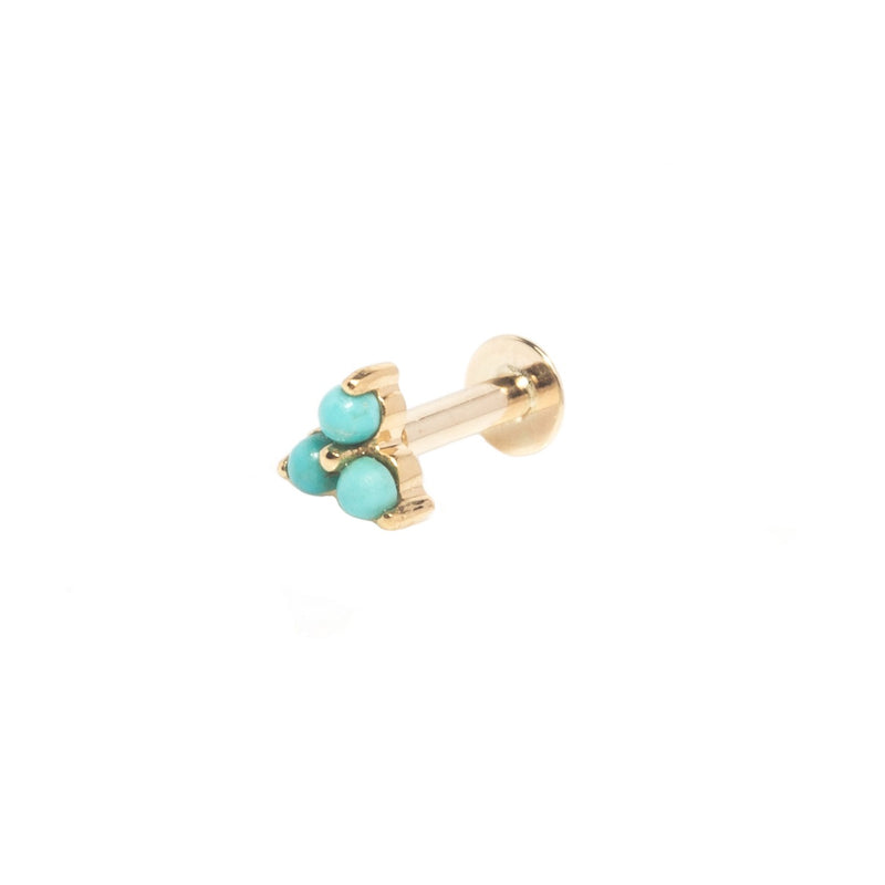 Turquoise Trilogy Flat Back Earring 9k Gold