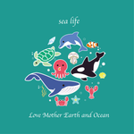 Sea Life Mismatched Enamel Stud Earrings