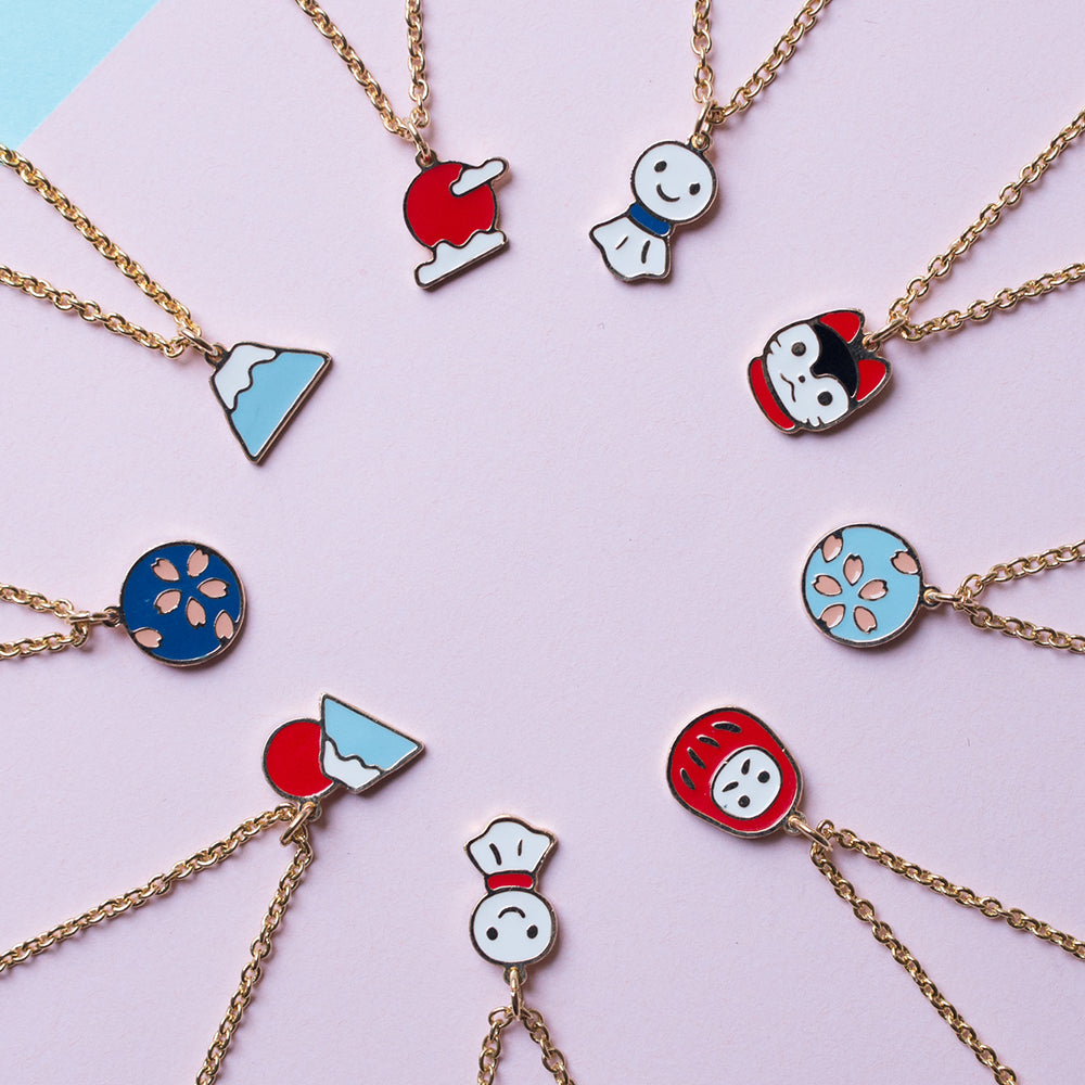 """Japan Impression"" 3 Pendants Enamel Bracelet"