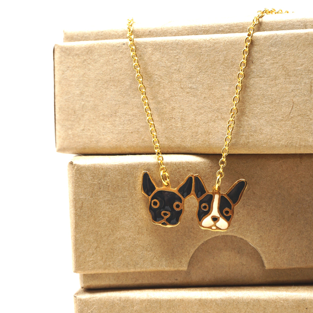 Handcrafted Two French Bulldog Friendship Enamel Necklace