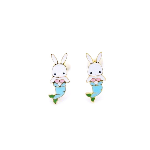 Bunny Mermaid Enamel Stud Earrings