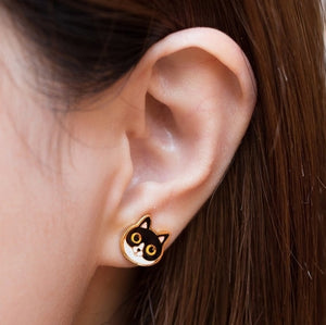 Handcrafted Batwoman Cat Enamel Stud Earrings