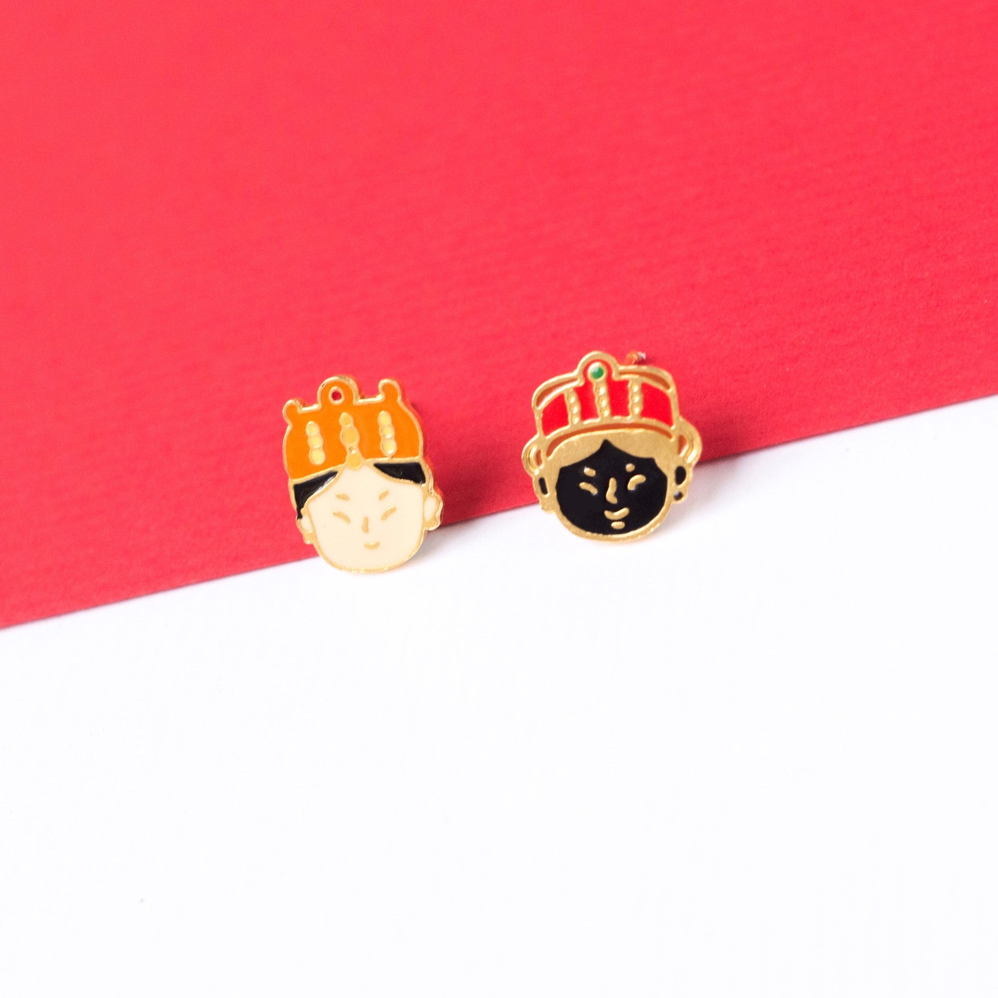 Sea Goddess Mazu Enamel Stud Earrings