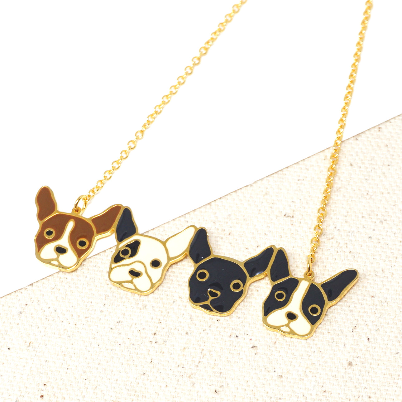 Handcrafted Four French Bulldogs Friendship Enamel Statement Necklace